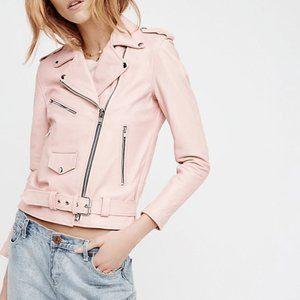 Lightweight Baby Pink Faux Leather Biker Jacket SM